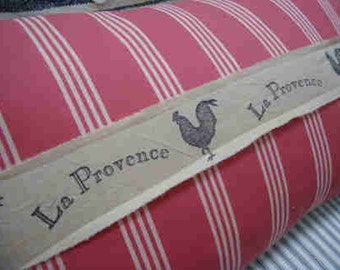 French Provence Cottage Down Feather Pillow Chicken Shabby Chic Muted Red Stripe Urban Loft
