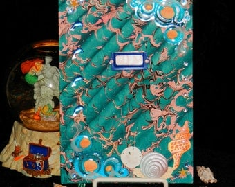 MERMAID Blue WAVE Hand Bound MAGIC Spell Book of Secrets, Journal