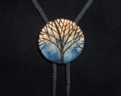 MOONLIGHT BOLO TIE No. 2 - Blue tree design engraved on wood disk