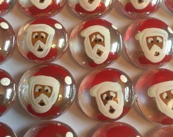 Hand painted glass gems party favors christmas santa faces
