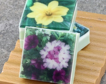In the Floral Garden Series - Set I Graphic Art Soap - Set of 3 Guest Size Square Soaps