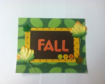 Fall Autumn Leaves Paper Piecing Title Mat Scrapbook Album Page