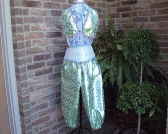 Genie costume, Jazmine in green, Arabian knights   green brocade Aladdin costume--girls size