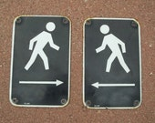 Vintage Pr Pedestrian Crosswalk Signs, Porcelain on Steel~Left & Right Arrows~Black Background