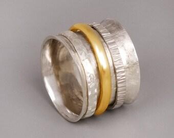 Meditation Ring, Silver Spinner Ring, Chunky Silver Ring, Big Ring, Silver Statement Ring, Sterling Silver Gold Spinner Ring, Wide Ring