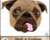 Pug-a-Licious Pug Dog Face INSTANT DOWNLOAD clipart Graphics 1 graphic with a great pug face with his tongue sticking out{Instant Download}