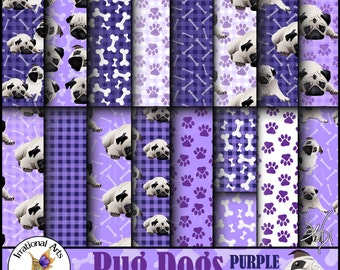 Pug Dog Papers PURPLE set 1 - 17 digital papers including pug dogs, paw prints dog bones and gingham plaid [Instand Download]