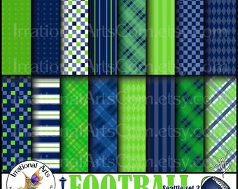 Seattle Football set 3 Digital Scrapbooking Papers - 16 jpg files 300dpi Navy and Lime Green {Instant Download}