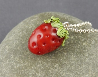 "Lampwork art glass pendant - ""Great British Strawberry"" - art glass necklace, art glass pendant, strawberry jewellery, strawberry necklace"