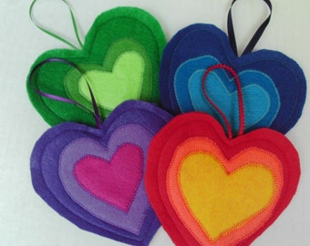 Rainbow Hearts Ornaments Felt Hanging Decorations
