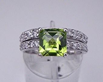 AAA Peridot Diamond   7x7mm  1.63 Carats   14K white gold Bridal set (.50CT ) 755