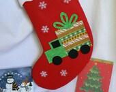 Gift Truck Christmas Stocking|Kids Personalized Christmas Stocking|Christmas Home Decor|Traditional Red Felt Christmas Stocking|Kid Stocking