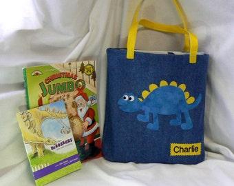 Dinosaur Personalized Tote Bag|Kids Tote Bag|Grand Kids Book bag|Kids Library Bag|Boys Tote Bag|Toddler Tote Bag|Denim Tote|Gift for Nephew