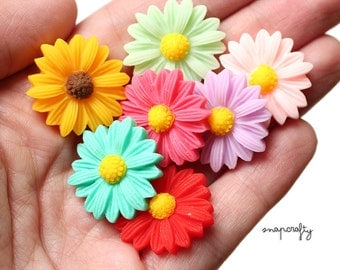 20pc large gerber daisy flower cabochons / resin daisy cabs / flat back flower embellishments / assorted pastel + bright color mix grab bag