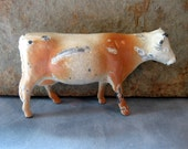 Vintage Small Metal Cow, Cast Iron, Shabby, Primitive, Farm Animal