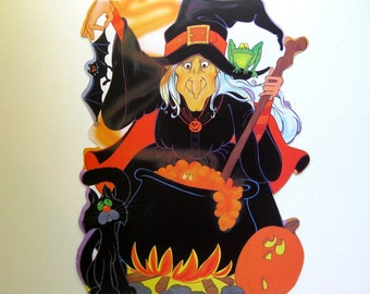 Vintage Halloween Witch and Cauldron Die Cut, by Eureka