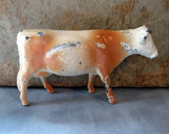 Vintage Small Metal Cow, Cast Iron, Shabby, Primitive, Farm Animal