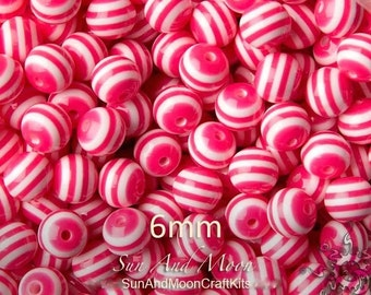 Beads - Craft Items - 6mm Striped Beads - Hot Pink - 100 Beads Resin Acrylic Beads