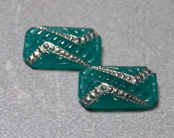 Vintage Emerald Green Opal 15x8mm Faceted Beveled Glass Octagon Jewels (2)