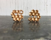 Honeycomb Cuff Links Bronze, beehive cufflinks
