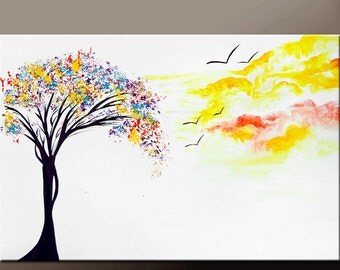Abstract Canvas Art Painting 36x24 Original Contemporary Modern Landscape Tree Paintings by Destiny Womack - dWo - Daydreaming