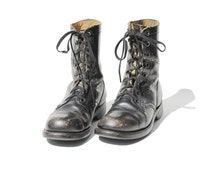 Vintage Women's Distressed Black Leather Combat Boots / size 9