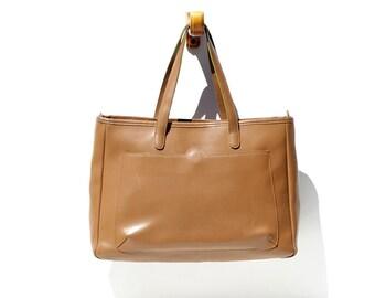Corkboard Tan Leather Tote Bag