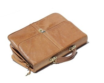 Men's Mocha Java Tan Leather Briefcase