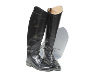 Size 7 Black Leather Equestrian Riding Boots