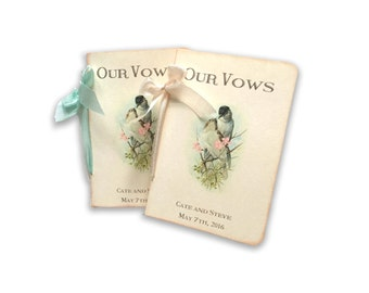 Wedding Vow Books, Custom Love Bird Vow Books, Pair of Personalized Wedding Vow Books, Pale Aqua and Cameo Buff Accents,
