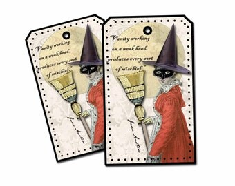 Jane Austen Halloween Witch Tag, Regency Lady Halloween Tag, Jane Austen Quote Tag, Fun Steam Punk Tag, Book Club Party Favor, Double Thick