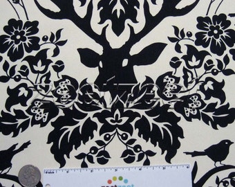 Birch Farm Deer ANTLER DAMASK Black Ivory Sateen by Joel Dewberry - Free Spirit Fabrics- By the Yard - Home Decor Weight - EXTRA wide 54""
