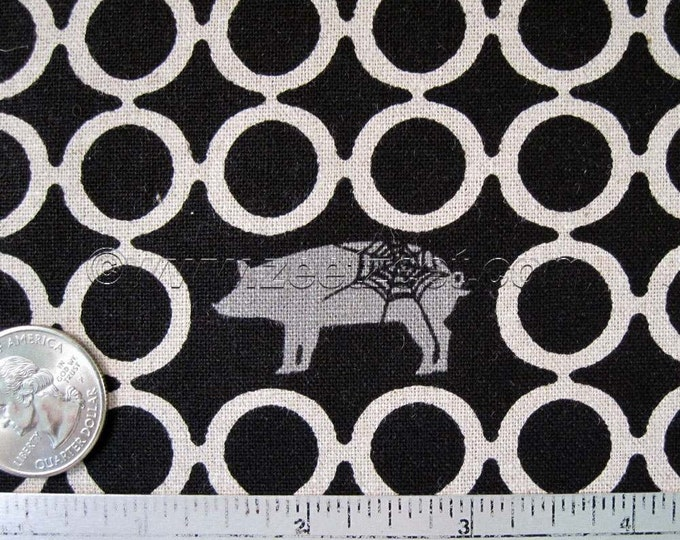 Rare Spider Web PIG CIRCLES Black Grey Flax Cotton Linen Japanese Fabric Import - Medium Weight Canvas Kokka Out of Print