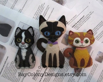 INSTANT DOWNLOAD Felt Ornament Sewing Patterns -- Crazy Cat Lady Starter Kit (93015)