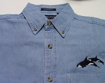 Killer Whales Wildlife Embroidered Small to 4XL Long Sleeve Light Blue Denim Shirt - Price Embroidery Apparel
