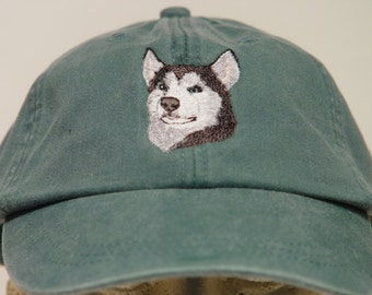 SIBERIAN HUSKY DOG Hat - One Embroidered Men Women Cap - Price Embroidery Apparel - 24 Color Caps Available