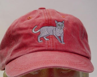 Russian Blue Cat Hat - One Embroidered Men Women Cap - Price Embroidery Apparel - 24 Color Caps Available