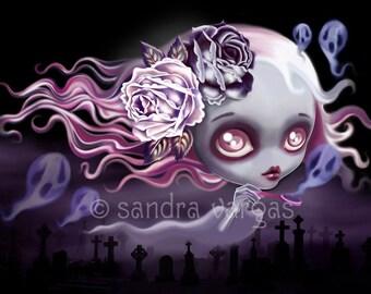 Ghostly Luna 8 x 10 Art Print with Metallic Finish Digital Illustration by Sandra Vargas