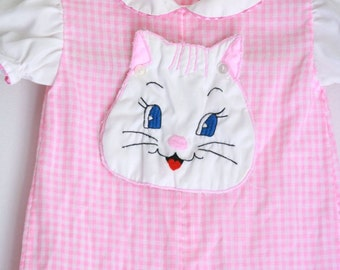 Vintage baby girls romper pink gingham cute kitty baby romper size 3 to 6 months