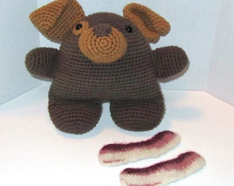 Crocheted Bruiser the Dog - 2 Pieces of Felted Bacon Included!  100% Cotton and Acrylic Stuffing  (SA1-002)