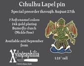 Pre-order Cthulhu enameled artist lapel pin