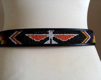 Black Tooled Leather Belt with Native American Beadind and Detailed Silver Buckle
