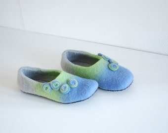 Wool slippers/ home shoes INA in grey blue green with flowers- Made to order, custom colors, any size