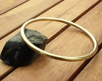 "Nu gold bangle | smooth 4 mm brass bangle | thick bangle | brass bangle bracelet | women's bangle | men's bangle | nu gold jewelry | 2.8"""