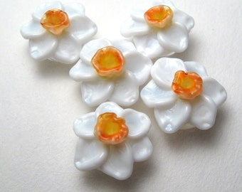 Handmade Lampwork Beads, Narcissus, Jonquil, Daffodil, in White and Orange, floral lampwork, daffodil beads, glass flowers