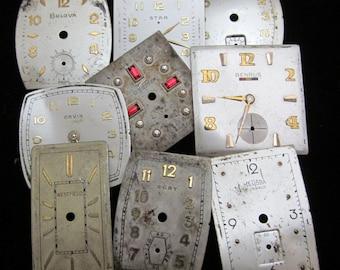 Vintage Antique Watch Dials Steampunk  Faces Parts Altered Art Industrial  H 95
