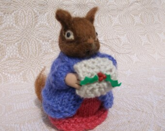 Needle Felted Wool Chipmunk, Soft Sculpture, Felted Animal, Woodland Felted Chipmunk, Original Design Knitted Coat, Muff, Skirt Reay to Ship