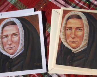 Saint Rose Philippine Duchesne, Society of the Sacred Heart of Jesus, White and Ivory Staionary Cards of Original painting, Catholic Art,