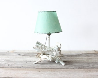 Sculptural Faux Driftwood Lamp & Fiberglass Shade