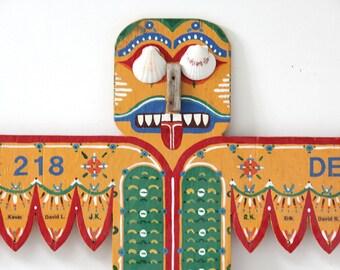 Folk Art Cub Scout Den Doodle Totem Pole Wall Hanging